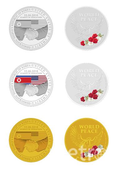 Медали, посвященные предстоящей встрече лидеров США Дональда Трампа и КНДР Ким Чен Ына. Фото AFP