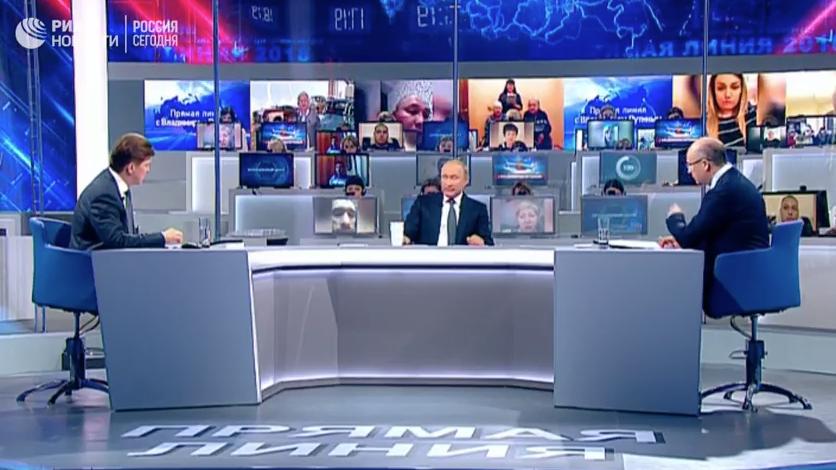 Владимир Путин на Прямой линии-2018. Фото скриншот https://www.youtube.com/watch?v=kj539AqaCBk