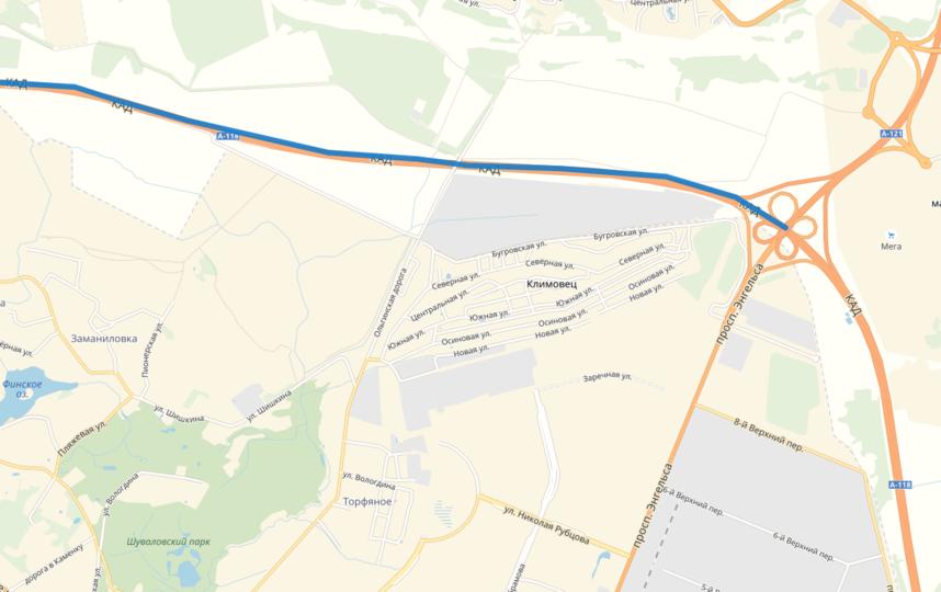Этот участок КАД будут расширять. Он последний - четырехполосный. Фото яндекс.карты.
