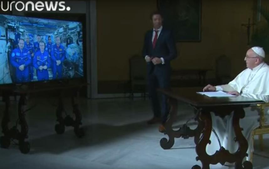 Прошлый разговор папы Римского с астронавтами. Фото Скриншот Youtube