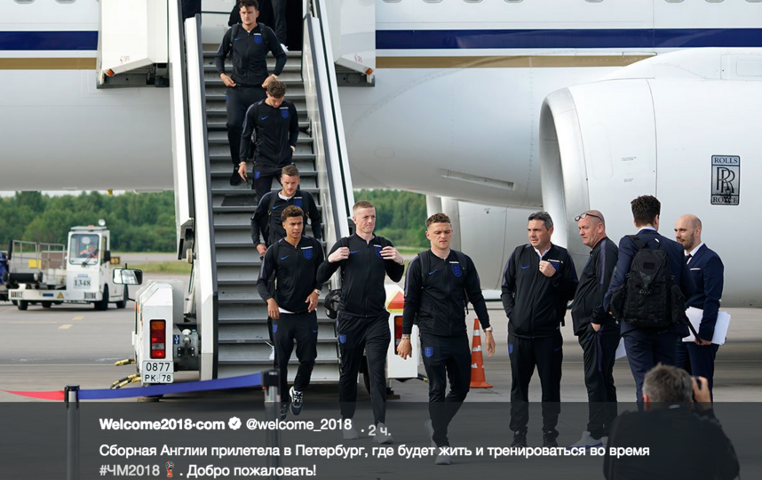 Сборная Англии прибыла в Петербург. Фото скриншот twitter.com/welcome_2018