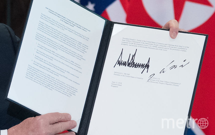 Соглашение, подписанное по итогам встречи лидеров США и Северной Кореи, содержит четыре ключевых пункта. Фото AFP