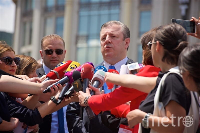 Глава правительства Грузии Георгий Квирикашвили на площади Свободы в Тбилиси в День независимости Грузии. Фото РИА Новости