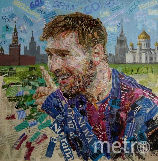 Нападающий сборной Аргентины Лионель Месси на фоне Москвы. Фото Предоставлено Андреем Шатиловым