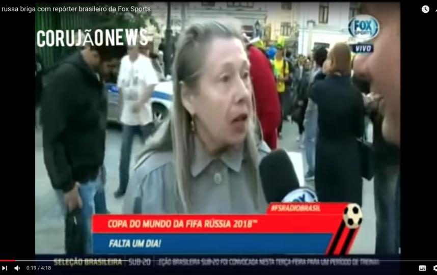 Бразильский корреспондент вёл прямой репортаж, гуляя по Москве за день до начала чемпионата мира по футболу. Фото Скриншот Youtube
