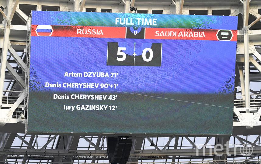 Итоговый счёт матча Россия – Саудовская Аравия. Фото AFP