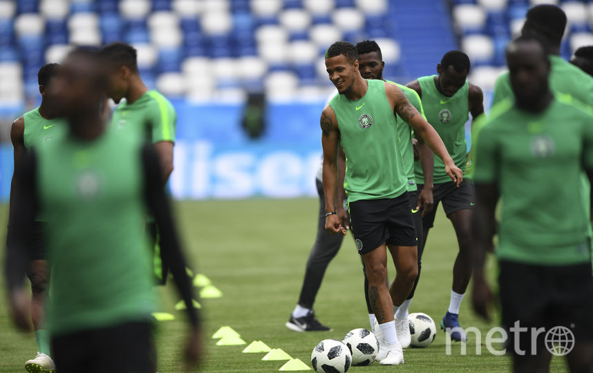Тренировка сборной Нигерии перед матчем с Хорватией. Фото AFP