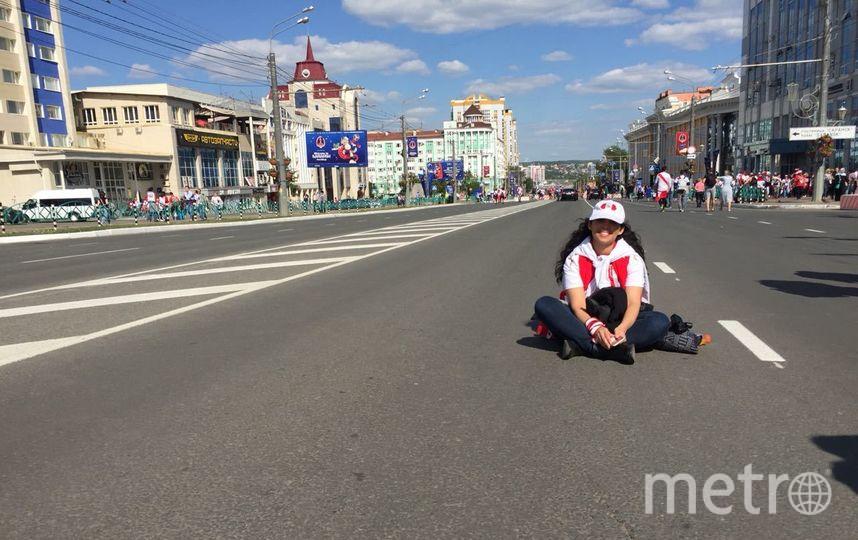 Болельщица сборной Перу на площади в Саранске. Фото Кирилл Сосков