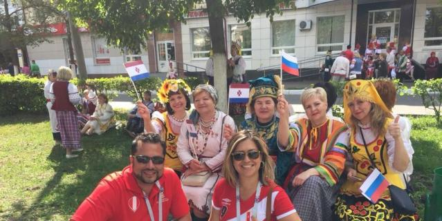 Болельщики сборной Перу вместе с русскими.