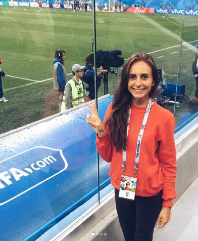 Болельщица сборной России по футболу. Фото Instagram/sashadementieva