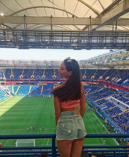 Фанатка на матче Уругвай - Саудовская Аравия в Ростове. Фото Instagram kvicky_makeup