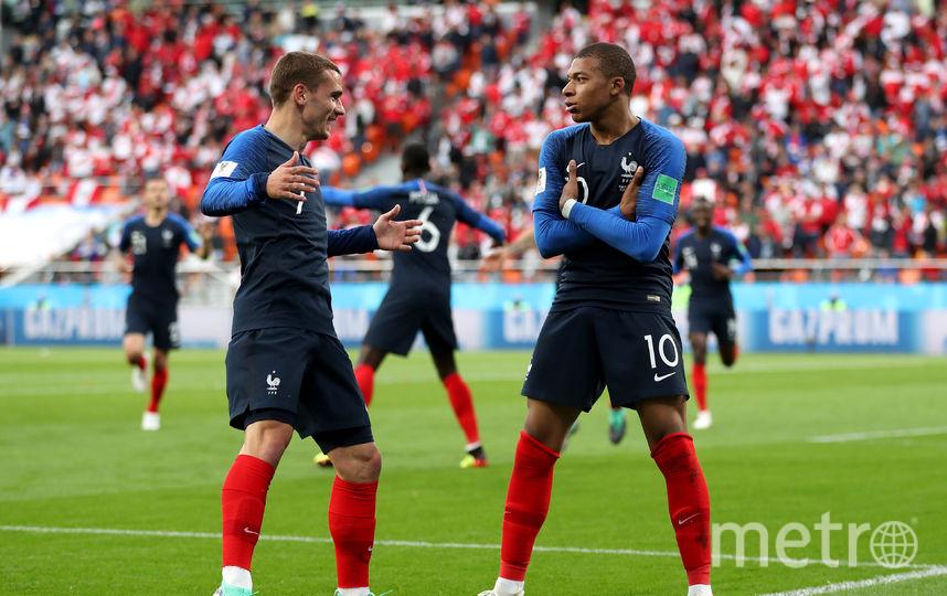Нападающий сборной Франции Килиан Мбаппе празднует забитый гол. Фото Getty