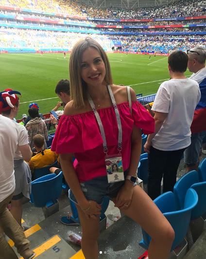Фанатка на матче Дания - Австралия в Самаре. Фото Instagram katya_chudaeva