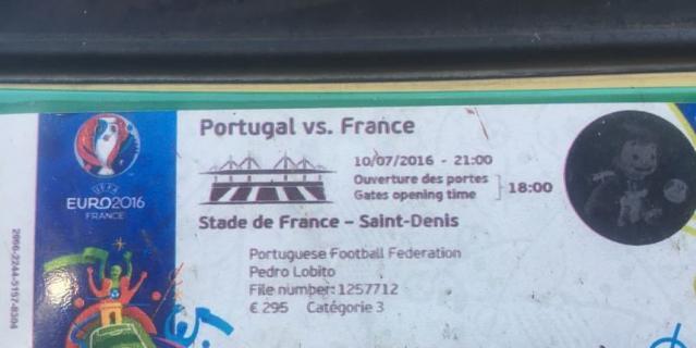 Билет Педро на матч Франция - Португалия 2016 года. Это был финал чемпионата Европы.