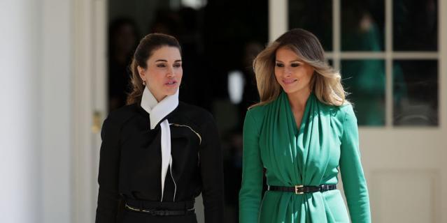 Встреча Мелании Трамп и королевы Рании в Белом доме в 2017 году.