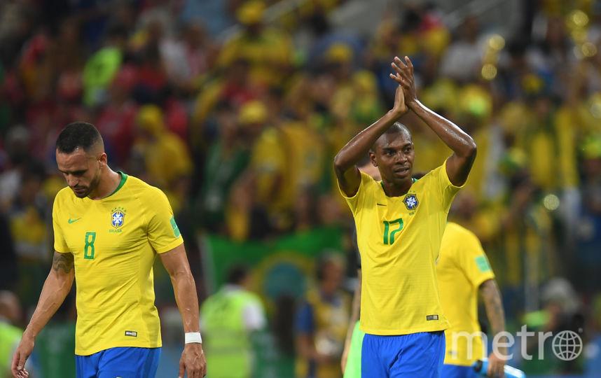 Бразильцы отмечают победу над сербами на чемпионате мира. Фото AFP
