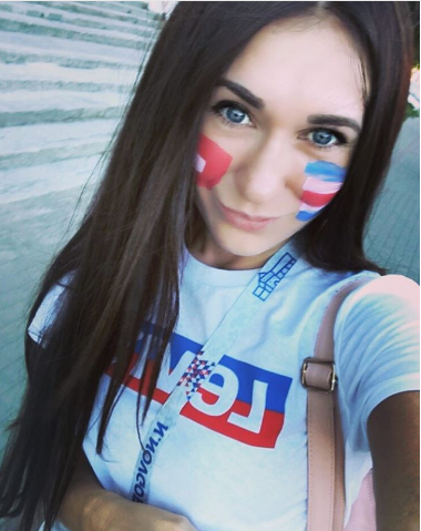 Болельщица матча Швейцария – Коста-Рико. Фото Instagram/darina_nikolaewa