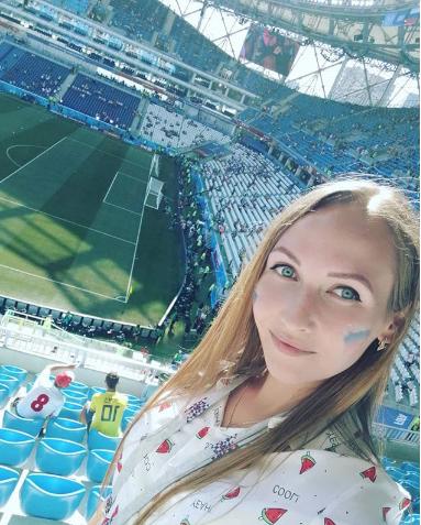 Болельщица матча Япония – Польша. Фото Instagram/alena_zakharikova
