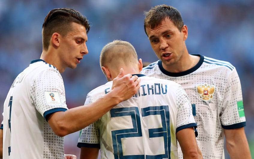 Российская сборная во время матча с Уругваем, фотоархив. Фото Getty