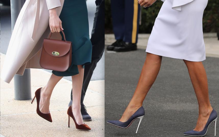 Сходятся и вкусы Меган и Мелании в обуви: они выбирают лодочки на высоком каблуке. Фото Getty