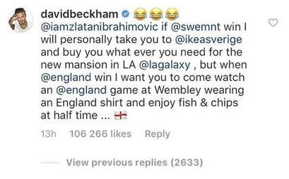 Дэвид Бекхэм предложил свои условия пари. Фото Скриншот Instagram: iamzlatanibrahimovic