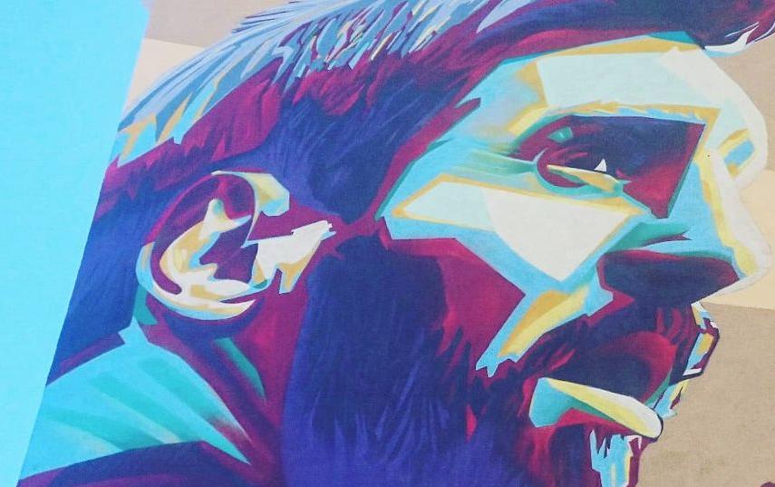 Граффити с Лионелем Месси в Казани. Фото Станислав Купцов