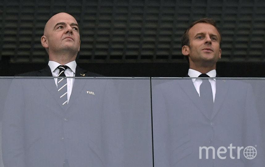 Эммануэль Макрон и президента FIFA Джанни Инфантино. Фото AFP