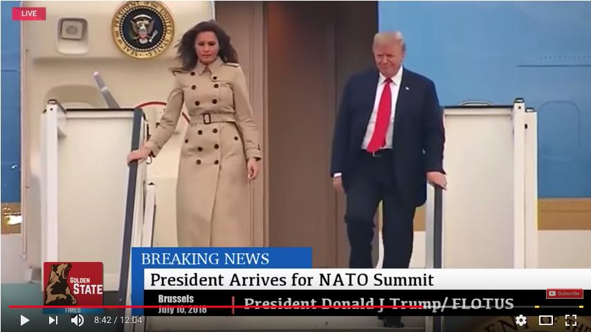 Дональд и Мелания Трамп прибыли в Брюссель. Фото Скриншот Youtube