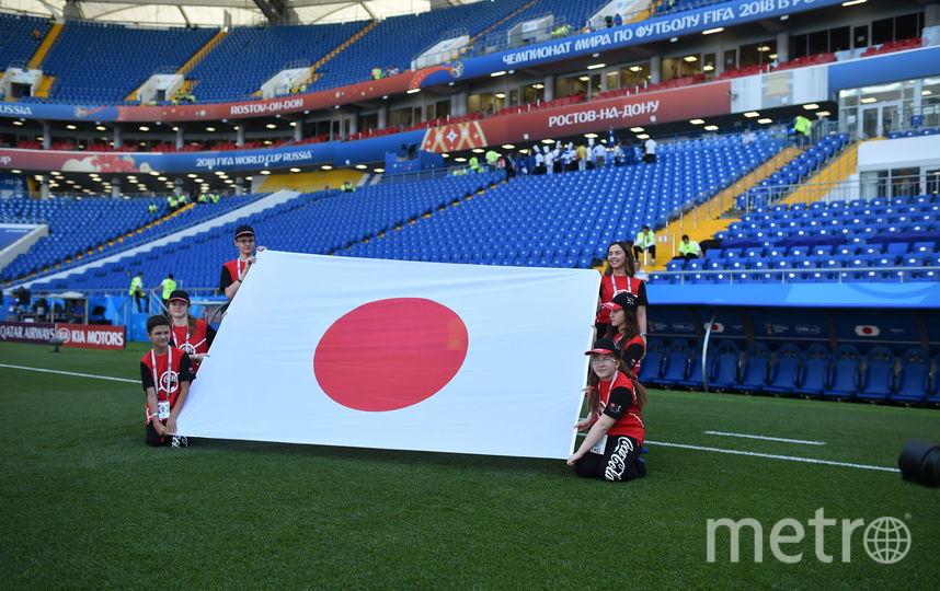 Мария Олейникова (внизу справа) вместе с другими флагоносцами выносит флаг сборной Японии на ЧМ–2018. Фото Фото предоставлено Coca-Cola.