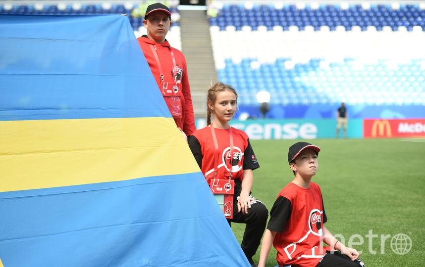 Максим Обидин (сверху) вместе с другими флагоносцами держит флаг сборной Швеции на ЧМ–2018. Фото Фото предоставлено Coca-Cola.