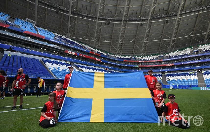 Максим Обидин (сверху справа) вместе с другими флагоносцами держит флаг сборной Швеции на ЧМ–2018. Фото Фото предоставлено Coca-Cola.