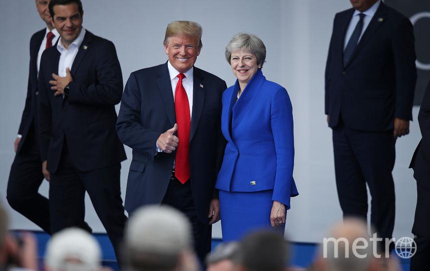 Саммит НАТО в Брюсселе. Тереза Мэй и Дональд Трамп. Фото Getty