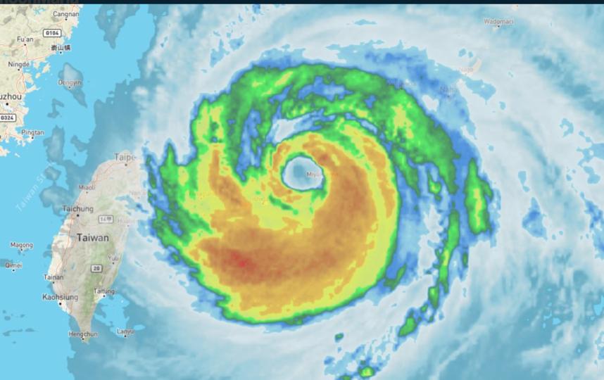 Так выглядел тайфун, приближаясь к Китаю.