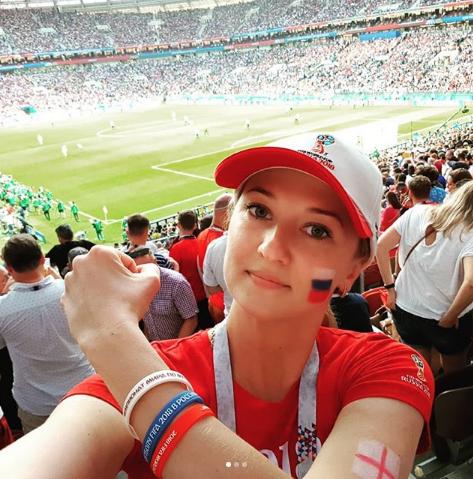 Болельщица матча Хорватия – Англия. Фото Instagram/katie_gramm