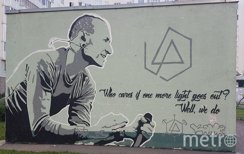 В Петербурге появилось граффити с Честером Беннингтоном. Фото Лахта Онлайн, vk.com