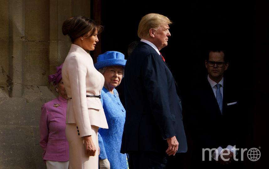 Елизавета II, Дональд и Мелания Трамп. Фото AFP