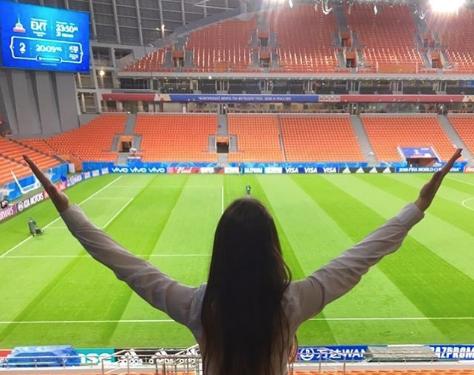 Болельщица матча Франция – Хорватия. Фото Instagram/anastasia_tv_