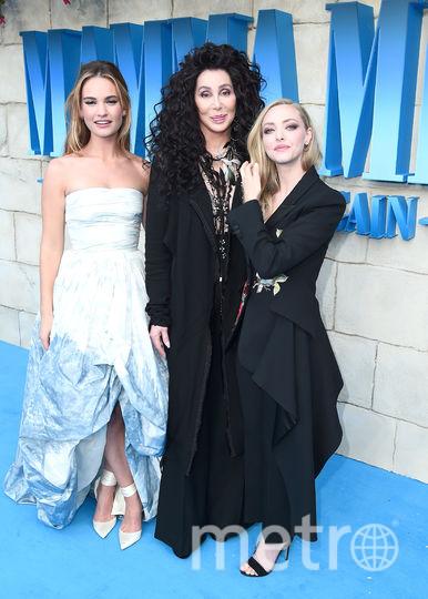 """Лондонская премьера фильма """"Mamma Mia! 2"""". Шер, Лили Джеймс и Аманда Сейфрид. Фото Getty"""
