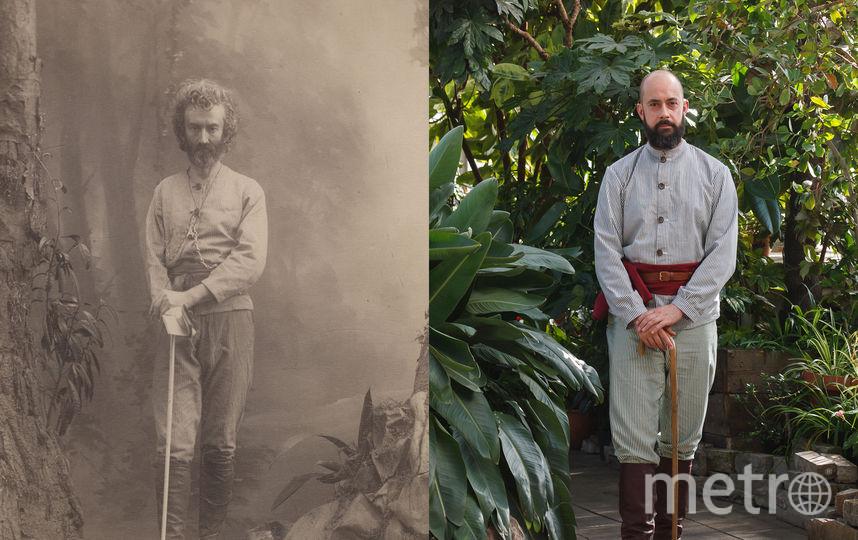 Портреты знаменитого этнографа и его потомка и полного тёзки в реконструированном костюме. Фото  предоставлено фондом им. миклухо-Маклая