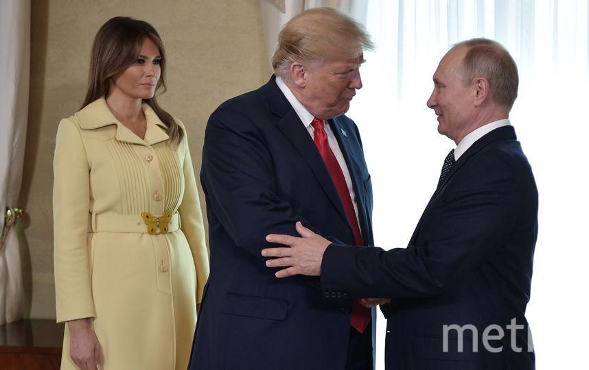 Мелания Трамп с Дональдом Трампом на встрече с Владимиром Путиным в Хельсинки. Фото AFP