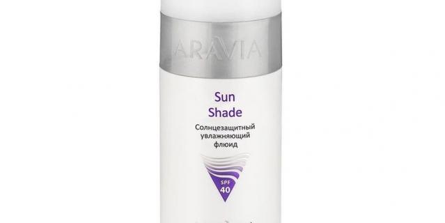 9. Флюид увлажняющий солнцезащитный SPF40 Sun Shade Aravia Professional.