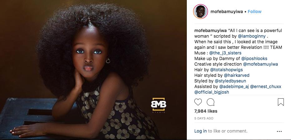 Девочку из Нигерии назвали самой красивой в мире. Фото Mofe Bamuyiwa: https://www.instagram.com/p/Blcw7WDlRUR/