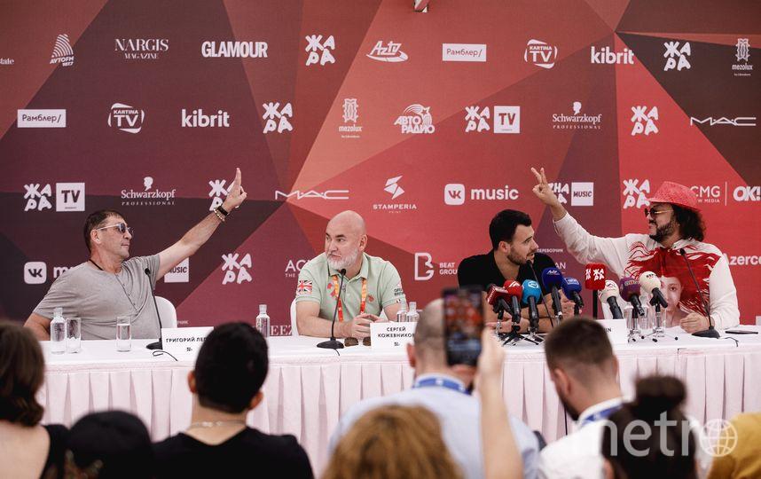 Григорий Лепс, Сергей Кожевников, Эмин Агаларов и Филипп Киркоров на пресс-конференции. Фото Предоставлено организаторами