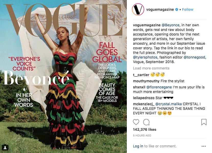 Новая обложка Vogue с Бейонсе. Фото Скриншот Instagram журнала Vogue: @voguemagazine.
