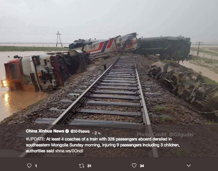 Стали известны подробности о пострадавших при аварии поезда в Монголии. Фото скриншот twitter.com/XHNews
