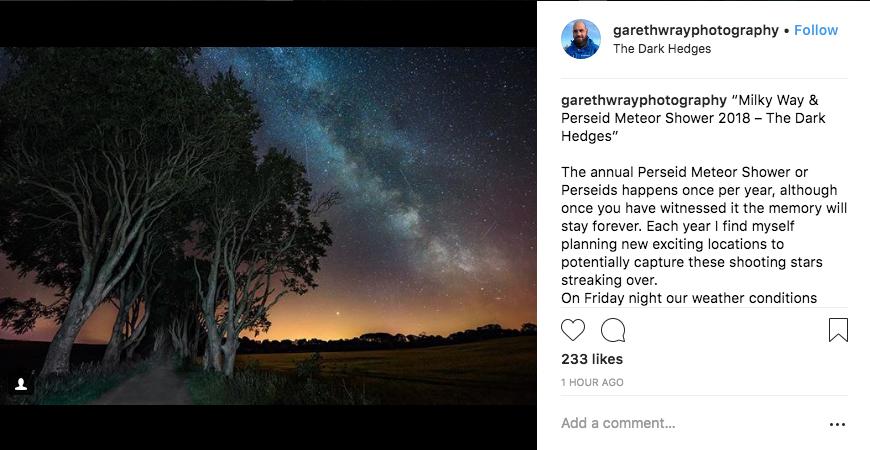Метеорный поток Персеиды достиг пиковой активности. Фото Скриншот Instagram.