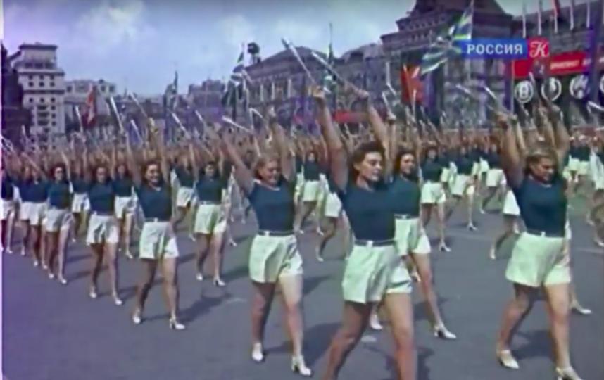 Первый послевоенный Всесоюзный парад физкультурников. Фото Скриншот YouTube