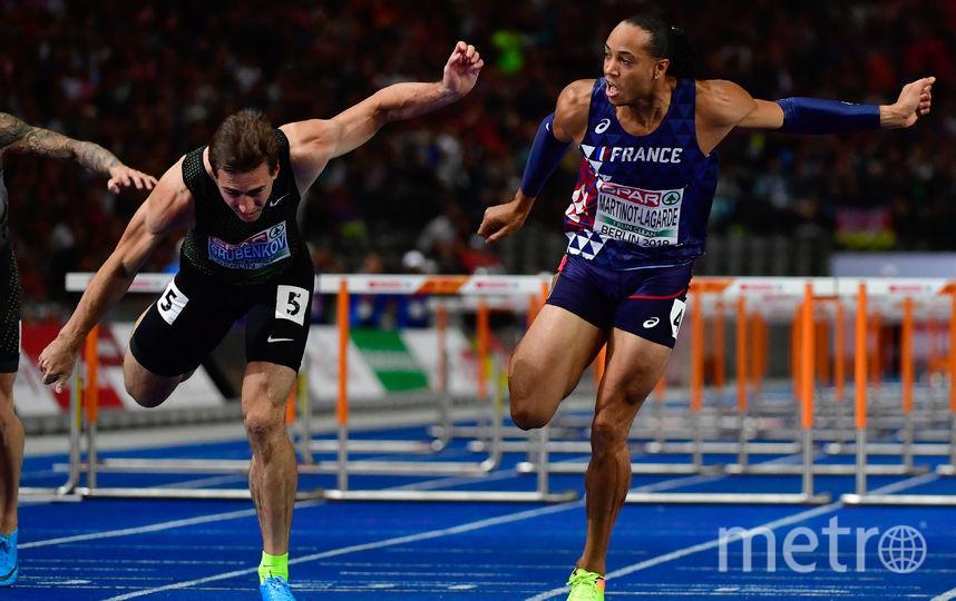Сергей Шубенков  уступил 0,002 секунды Паскалю Мартино-Лагарду на дистанции 110 метров с барьерами. Фото Getty