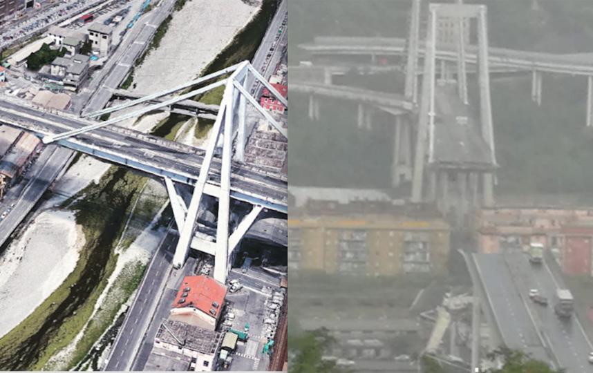 Мост до обрушения и сейчас. Фото instagram/antonello.bassi, instagram/walter.aresca