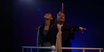 "Ариана Гранде и Джеймс Корден пересказали ""Титаник"" за пять с половиной минут и 13 песен"